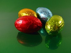 Chocolate eggs in colourful foil